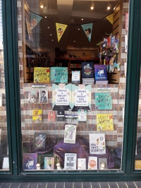 Riverside shop window with books by women